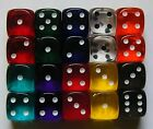100 Six Sided Gem Spot Dice Translucent 12MM RPG D6 NEW