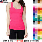 Solid Racer Back Tank Top Plain Basic Layering Stretch Tee Shirt Tunic Cami 1159