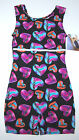 Nwt New Jacques Moret Biketard Unitard Tank Lightning Heart Glitter Cute Girl