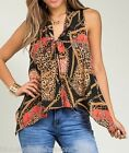 Coral Leopard/Chain Patch Print Scarf/Tie Neck Sleeveless Blouse Top S M L