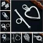 925 Sterling Silver Toggle Lobster Clasps Bolt Hook Ring Jewellery Findings DIY