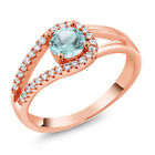 1.05 Ct Round Sky Blue Topaz 18K Rose Gold Plated Silver Ring