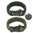 Black/ArmyGreen Plug-in Button ParaCord Rope Outdoor Survival Whistle Bracelet