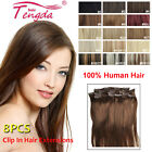8pcs/set Clip In Human Hair Extensions 100% Real Human Hair Deluxe Thick