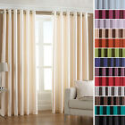 """Riva Home Fiji Faux Silk Fully Lined Ready Made 66x72"""" Ring Top Eyelet Curtains"""