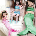 Girl Little Mermaid Tail Swimmable Swimming Costume Swimsuit Bikini Bathing Suit