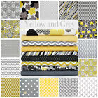 GREY & YELLOW 100% COTTON FABRIC by the metre DOT STAR CHEVRON FLORAL QUATREFOIL