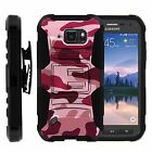 For Samsung Galaxy S6 Active Rugged Holster Hard Belt Clip Stand Case RED CAMO