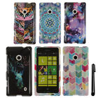 For Nokia Lumia 521 PATTERN HARD Protector Case Phone Cover Accessory + Pen