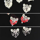 10pcs 3D Fox Metal Alloy Rhinestone Crystal Nail Art Tips Jewelry DIY Decoration