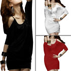 Pullover Stretchy Cut Out Shoulder Leisure Short Dress for Lady