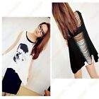 Attractive lady Vogue Tassel Back SKULL PUNK Singlet Tank Top long T-Shirt HFCA