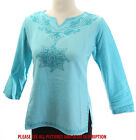 NEW $89 CHIC GROVE SEQUIN EMBROIDERED WOMENS TURQUOISE TUNIC TOP KURTA