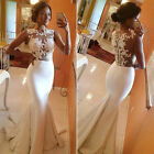 NEW Full Length Mermaid Formal Prom Dress Party Ball Evening Pageant WHITE Gowns