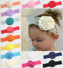 baby Girls Toddler Child Elasticity Headband Lace Rose Flower Hairband  Hairbow