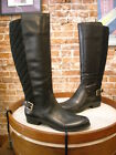 Isaac Mizrahi Tally Black Leather & Quilted Wide Calf Riding Boots New