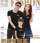 Love you Lovers Heart MOM DAD Kids Family T-Shirt Summer Lycra Cotton LWE6221
