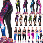 Womens Sports Slim Tight Trousers Fitness Base Layer Cropped Long Leggings Print