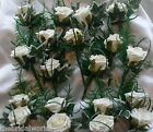 Wedding Flowers 16 Rose, Ivy & Beargrass Buttonholes All Colours Groom Ushers