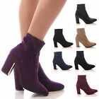 LADIES WOMENS ANKLE BOOTS STRETCH BLOCK HEEL POINTY LYCRA WINTER SHOES SIZE