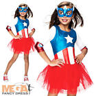 Captain America + Mask Girls Fancy Dress Marvel Superhero Kids Childs Costume