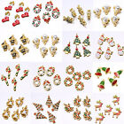 5Pcs Wholesale Christmas Motif Charms Pendant Gold Plated Tree Snowflake Lot Hot