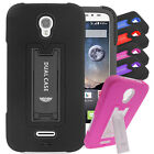 For ZTE Warp Elite EC2 Hybrid Hard Rubber w T Stand Case Colors