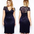 Fashion Sexy Women Cut Lace Cocktail Bodycon Formal Dress Evening Party M-4XL