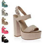 WOMENS BUCKLE CUT OUT STRAPPY BUCKLE LADIES OPEN TOE CHUNKY BLOCK HEELS SIZE 3-8