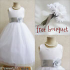 Stunning White/silver grey bridal flower girl party dress FREE BOUQUET all sizes