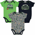 Infant College Navy Seattle Seahawks Field Goal 3-Pack Bodysuit Set