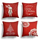 """RED CHENILLE CHRISTMAS CUSHION COVERS REINDEER SNOWMAN STAMPS 18""""x18"""""""