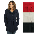 Jessica Simpson Women's Single Breasted Belted Peacoat Jacket Coat
