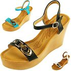 Womens Wedged Heel Gold Accent Open Toe Ankle Strap Padded Shoe Platform Sandals