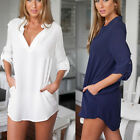 New Fashion Womens Loose Chiffon Button Tops Long Sleeve T Shirt Casual Blouse