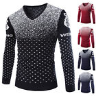 Mens Fashion V-Neck Geometric Pattern Knitwear  Casual Pullover Sweater S12
