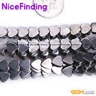 "Heart Natural Black Magnetic Hematite Gemstone Beads For Jewelry Making 15"" DIY"
