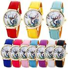 Fashion New Casual Watch Ladies Faux Leather Deer Analog Quartz Wrist Watches