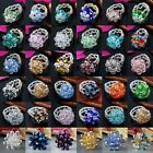 Crystal Adjustable Faceted Beads Cocktail Finger Ring Comfort fit Band US 6-7.5