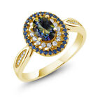 1.55 Ct Oval Blue Mystic Topaz 18K Yellow Gold Plated Silver Ring