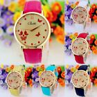Fashion Women Butterfly Faux Leather Appealing Dial Analog Wristwatch New Gift
