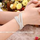 1pc PU Leather Wrap Wristband Cuff Crystal Buckle Bracelet OR Necklace Jewelry