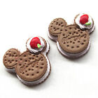 Brown Cartoon Mickey Biscuit Resin Flatback Flatbacks Button DIY Craft B0478