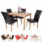 OAKDEN OAK VENEER DINING TABLE AND 4 x FAUX LEATHER HIGH BACK CHAIR SET WOOD