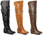 Faux Leather Buckle Strap Slouch Thigh High Fashion Over The Knee Flat Boot