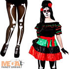 Mexican Day Of The Dead Costume + Tights Ladies Halloween Womens Fancy Dress New