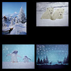 CANVAS FIBRE OPTIC LED PICTURE SNOW PENGUIN ROAD POLAR BEAR CABIN REINDEER - NEW