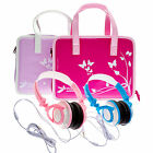 Girls Travel Vinyl PU Handbag Storage Case with Headphones for Leapfrog Epic 7""