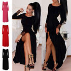 Sexy Occident Women Long Sleeve Crew Neck High Bandage Party Split Pub Dress K