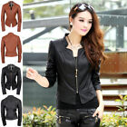 Womens Vintage Slim Short Biker Motorcycle Leather Zipper Jacket Coat Outwear UK